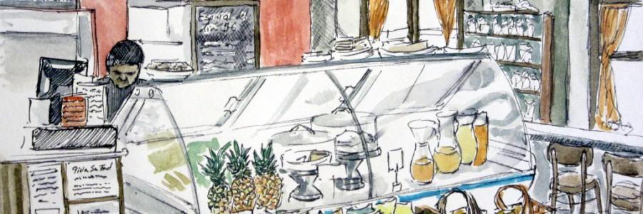 Aleisa - Café Panamastadt (Panama) - Fineliner & Aquarell - DinA5