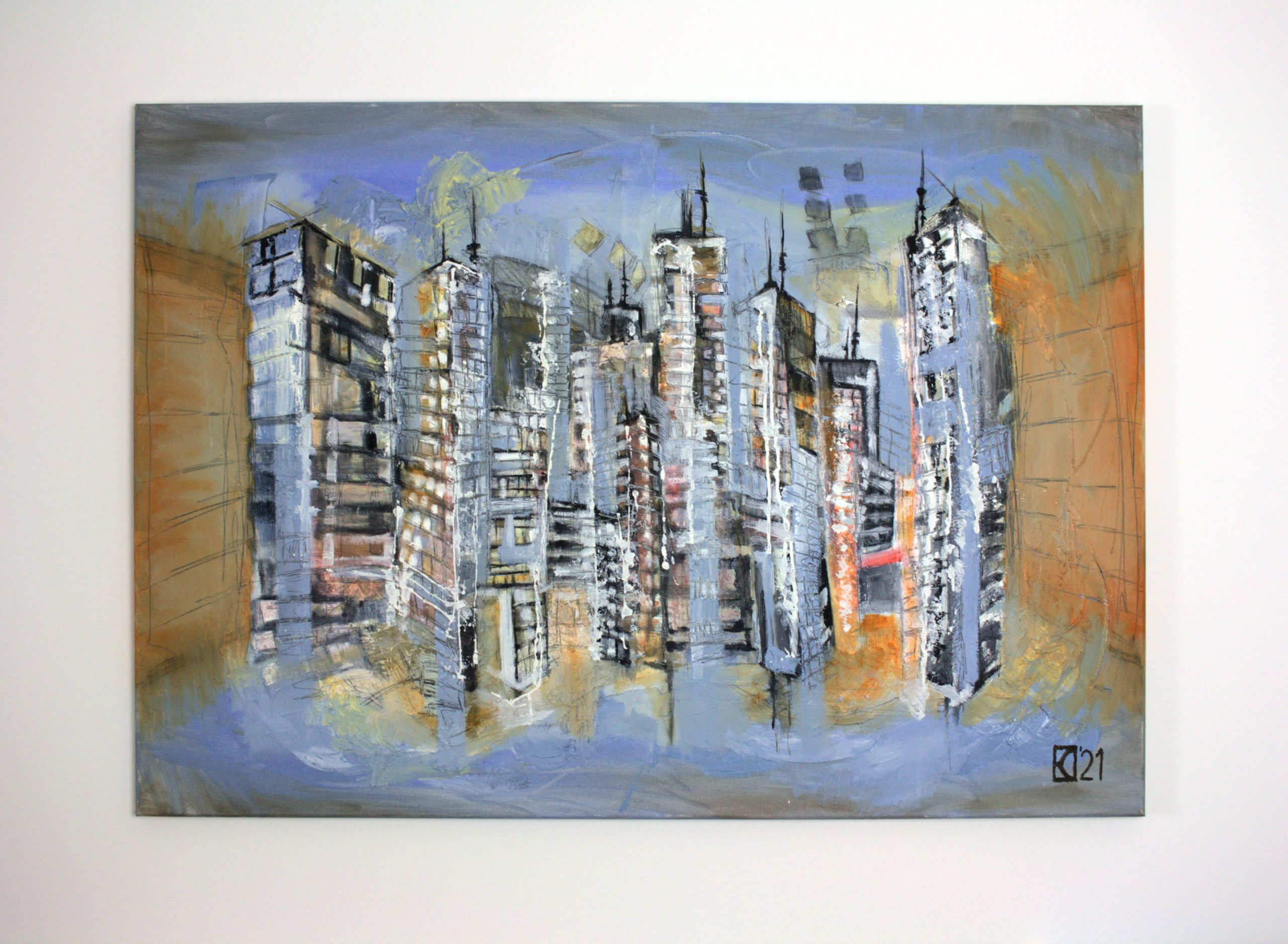 City district by Stefan Eisele - Oil on canvas